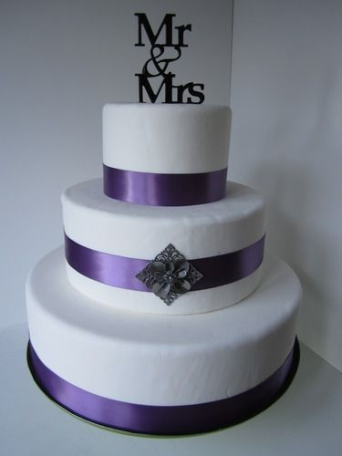 Simple Purple And White Wedding Cake With Mr And Mrs Cake Topper