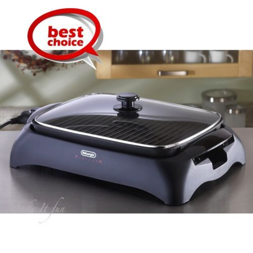 Indoor Bbq Grill Smokeless W Lid Portable Home Electric Tabletop Barbecue