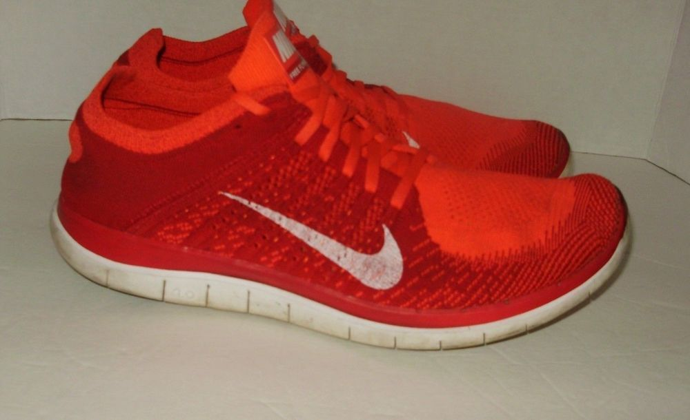 8877c5212e60 Nike Free Flyknit 4.0 Mens Sneakers Shoes Size 10.5 Red Orange White Lace  Up A11  Nike  sneakers