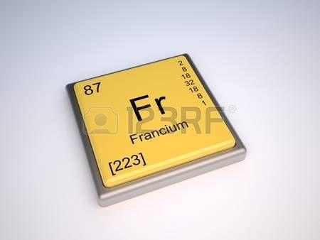 Francio, elemento químico de la tabla periódica con el símbolo Fr ...