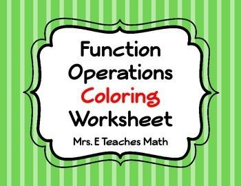 Function Operations Coloring Worksheet | Coloring worksheets and ...