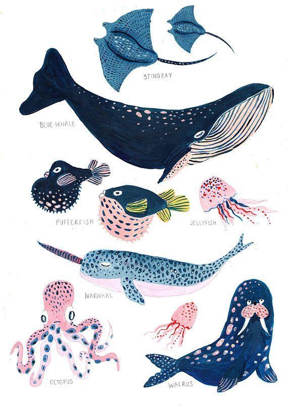 Photo of Under the Sea / Nursery Wall Art / Whale / Nautical / Whale Print / Bathroom …