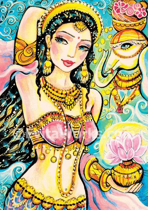 Lakshmi Indische Göttin Kunst Malerei Illustration Indianerin