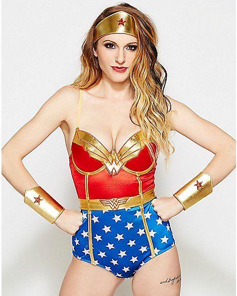 5af8ccd69 Satin Wonder Woman DC Comics Bodysuit - Spencer s