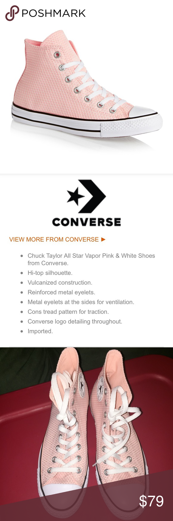 36eb06031c136a CTAS Vapor Blush Pink High Top Converse 9 Step out from your regular white