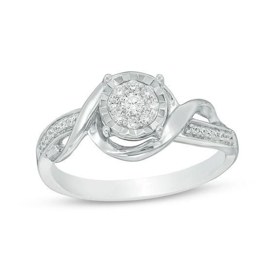 Zales Multi-Shaped Lab-Created White Sapphire Bypass Wrap Ring in Sterling Silver x85PmSR