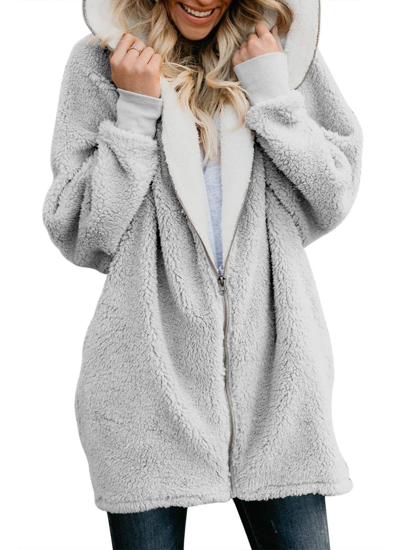 Womens Fuzzy Winter Open Front Cardigan Sherpa Fleece Jacket Hooded Coat Outerwear