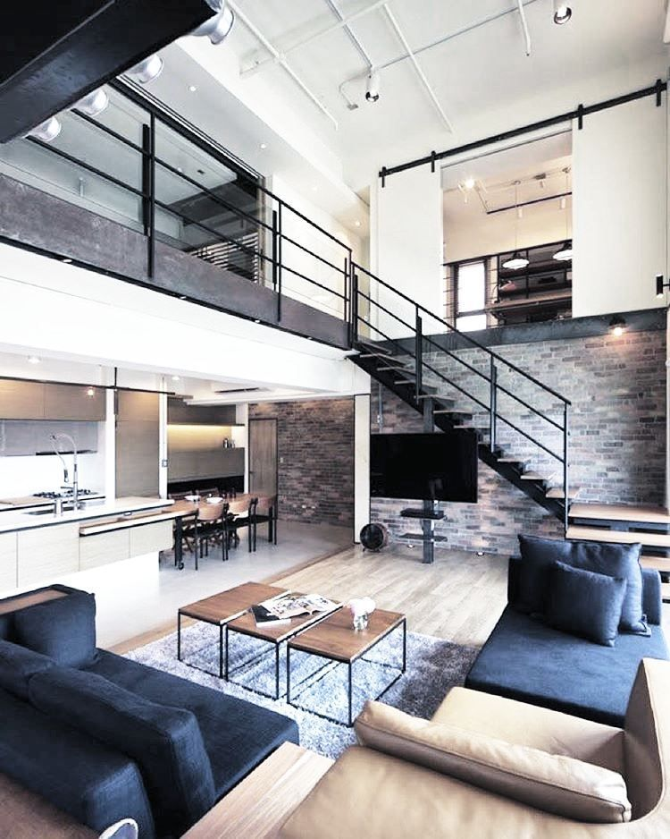 Bachelor Pad Masculine Interior Design 3 Blue Couches Modern Loft Apartment