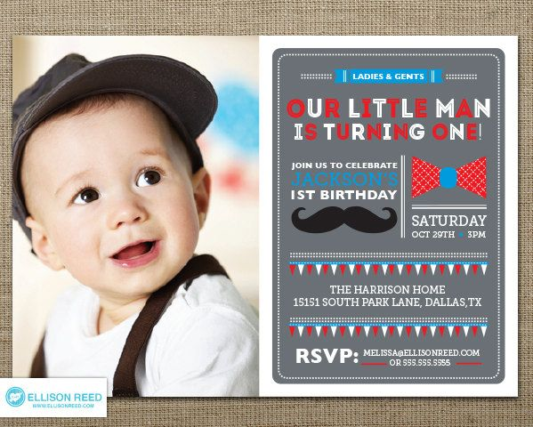 Download Now FREE Template Little Man Birthday Party Invitations - free first birthday invitation template