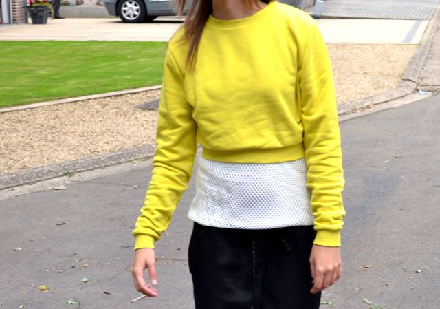 asos sweater crop top mesh top h&m trend trousers shiny silk mango wedge heels white outfitpost outfit fashion blogger turn it inside out be...