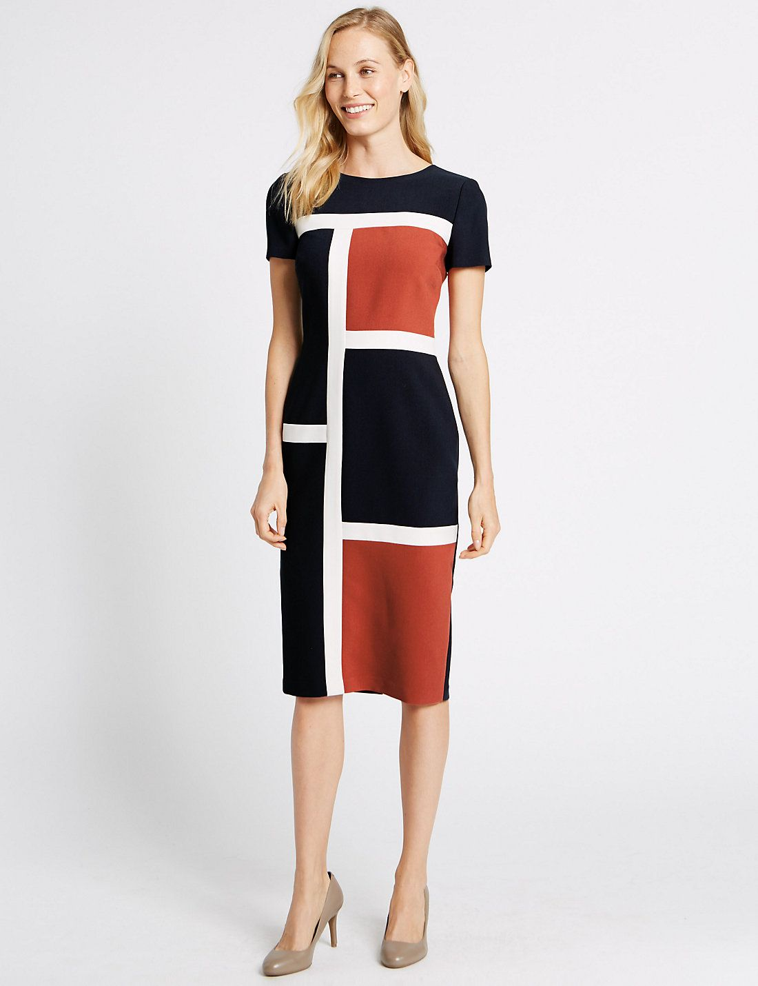 Colour Block Short Sleeve Shift Midi Dress | Marks & Spencer London ...