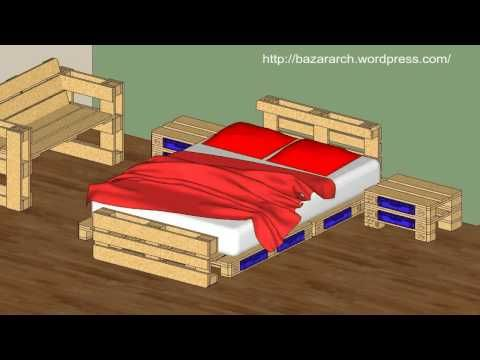 Bed, side table and bench made out of Pallets   Room Ideas ...