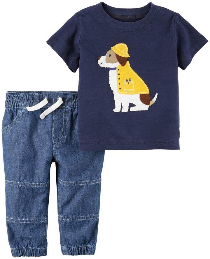 88c389f9b9f5 Baby Boy Carter s Embroidered Dog Applique Tee   Chambray Pants Set ...
