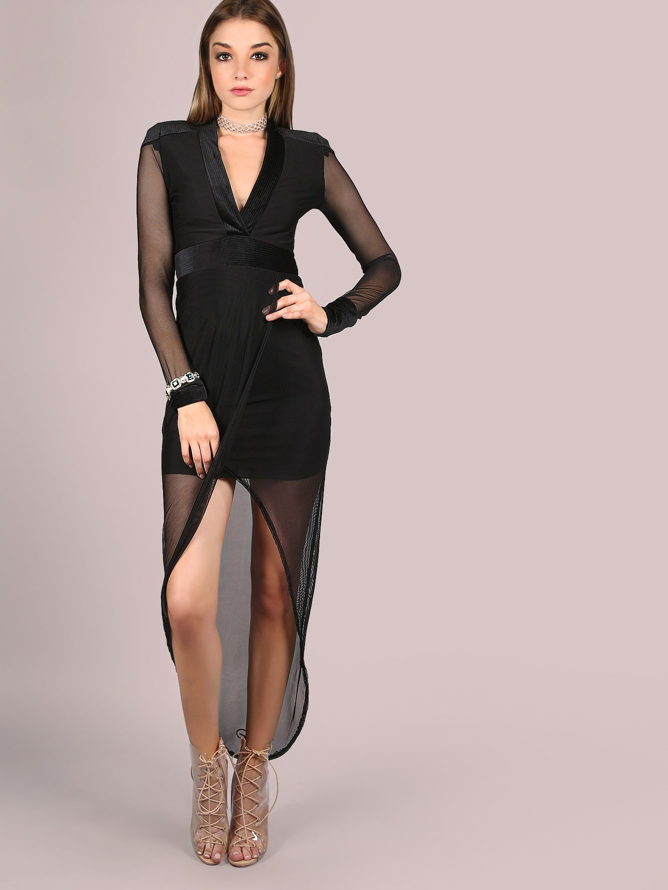 Watch as eyes wander to your every step with this sultry garment. Featuring  a deep v-neckline 44c3d6e98