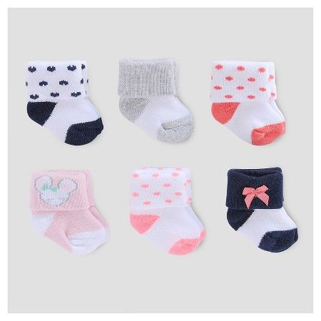 Baby Girls' 6 Pack Terry Cuff Socks Pink/White/Navy 0-3M - Just One You™ Made by Carter's® : Target