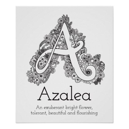 A Monogram Tangle Art Azalea Name Meaning Poster Zazzle Com Tangle Art Names With Meaning Drawings With Meaning