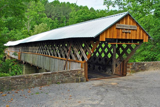 Horton Mill Covered Bridge, stands 70 feet above the Warrior River, in Blount County, Alabama