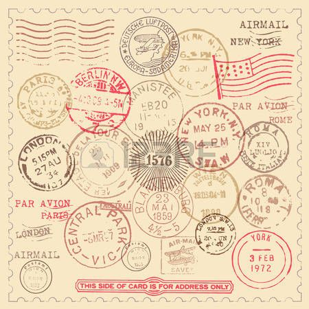airmail: Sellos serie Vintage - conjunto de sellos de la vendimia ...