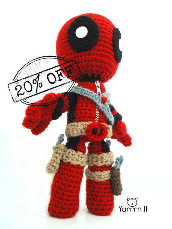 Deadpool Sackboy Amigurumi -Crochet doll - FREE SHIPPING US