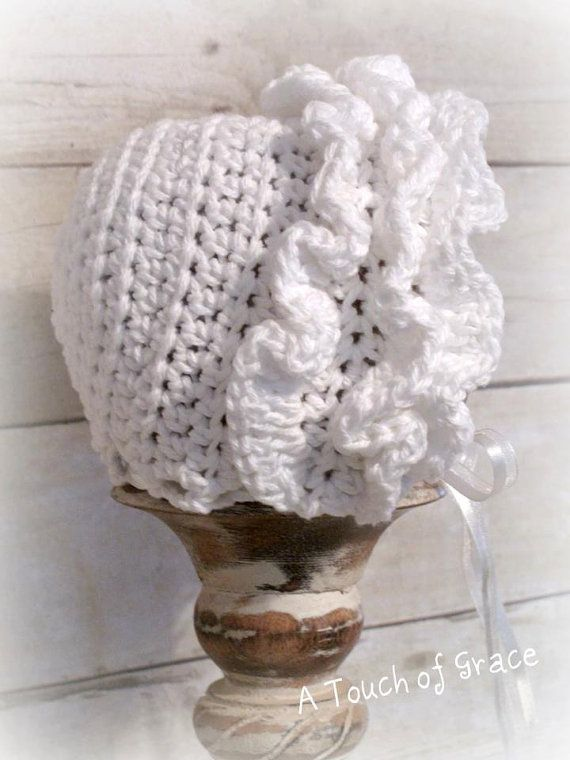 Crochet Pattern for Ruffled Baby Bonnet Hat - 4 sizes, baby to ...