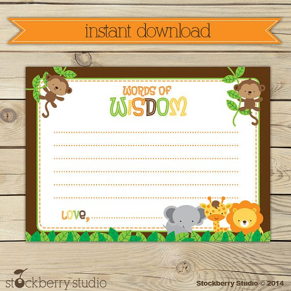 safari animals baby shower words of wisdom printable instant download advice for mommy to