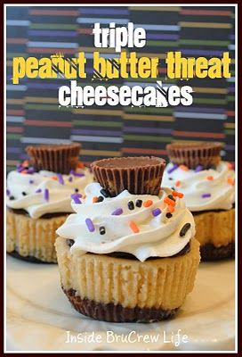 Triple Peanut Butter Threat Cheesecakes