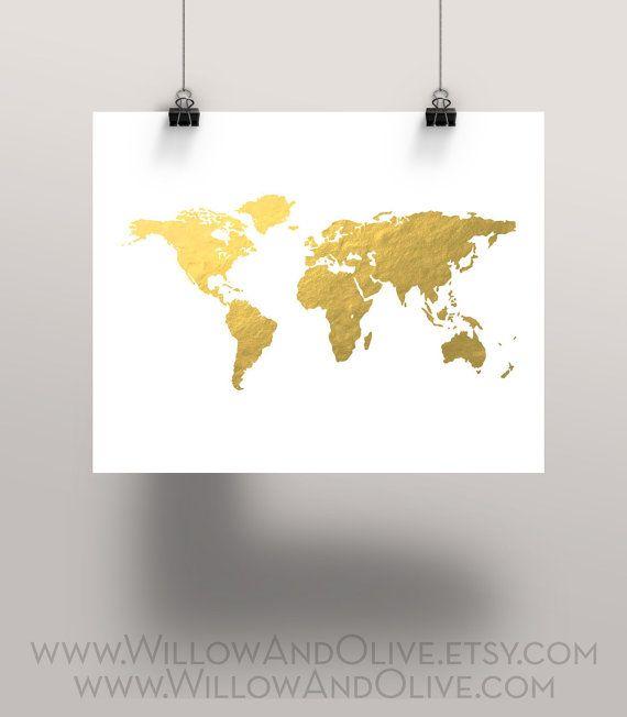 World map faux gold foil art print gold world by willowandolive world map faux gold foil art print gold world by willowandolive gumiabroncs Choice Image