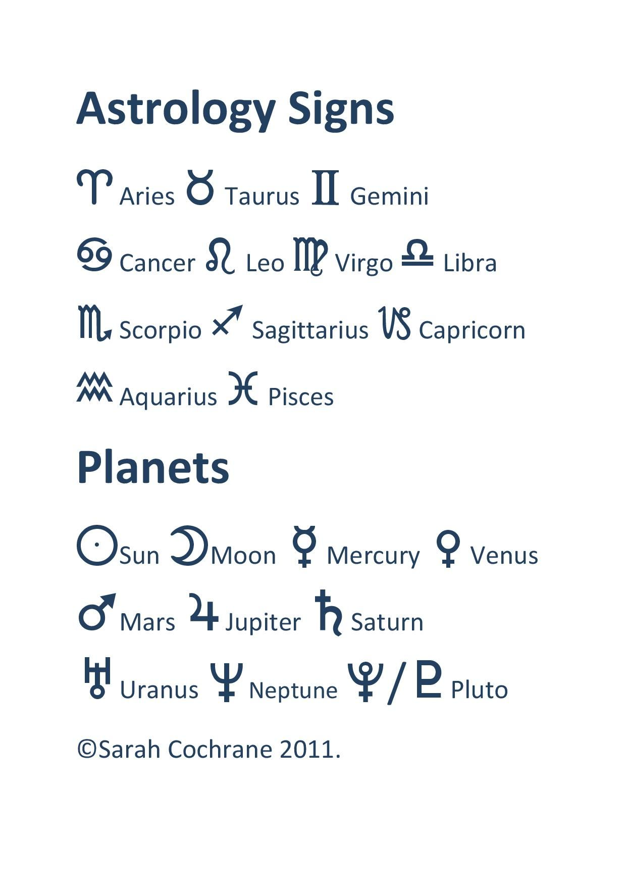 This Is A Basic List Of Some Of The Astrological Glyphs That Are Used In Astrology