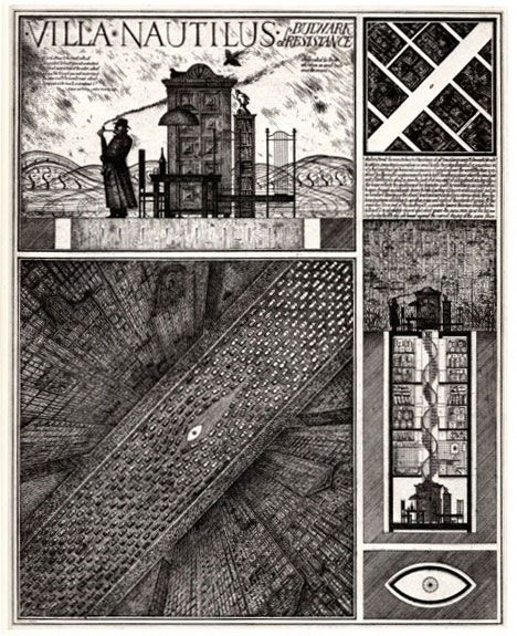 "Alexander Brodsky Villa Nautilus 1990 ""The imaginary architectures of Alexander Brodsky and Ilya Utkin rethink the city as a dream landscape, blending memories of the past with visions for the future."""
