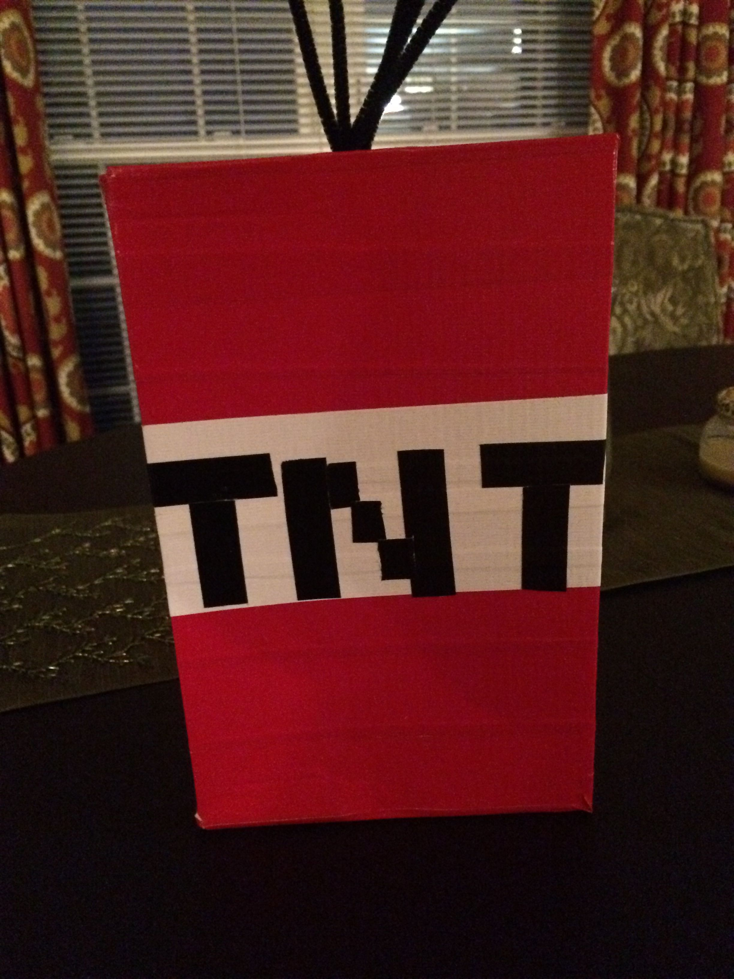 TNT Minecraft Valentine Box Used A Shoe Duck Tape And Pipe Cleaners Boys