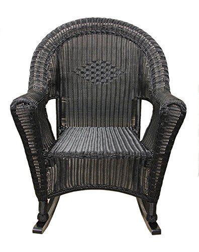 lb international black resin wicker rocking chair patio furniture
