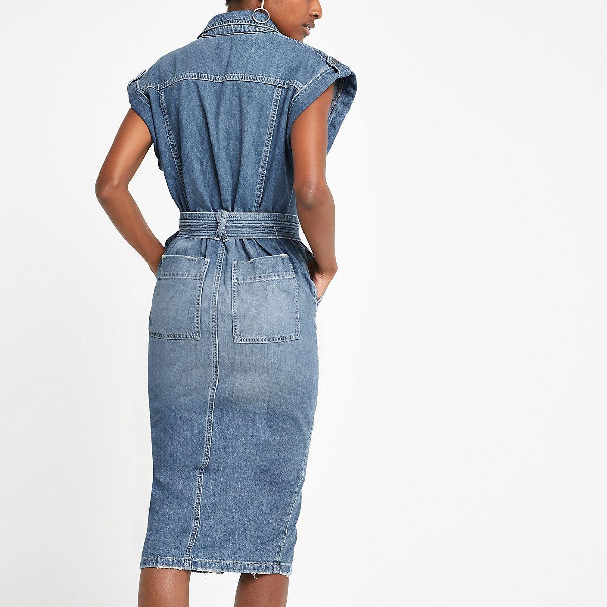c03dc738827da5 Blue belted midi denim dress in 2019 | 2019 retail dresses | Denim ...