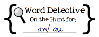 Word Detective is a center where I ask students to find a certain kind of word. Sometimes it's a part of speech we've been learning about. Sometimes it follows the spelling pattern we are learning about. We can look for plural nouns, linking verbs, ee/ea words, possessive nouns, onomatopoeia... anything!