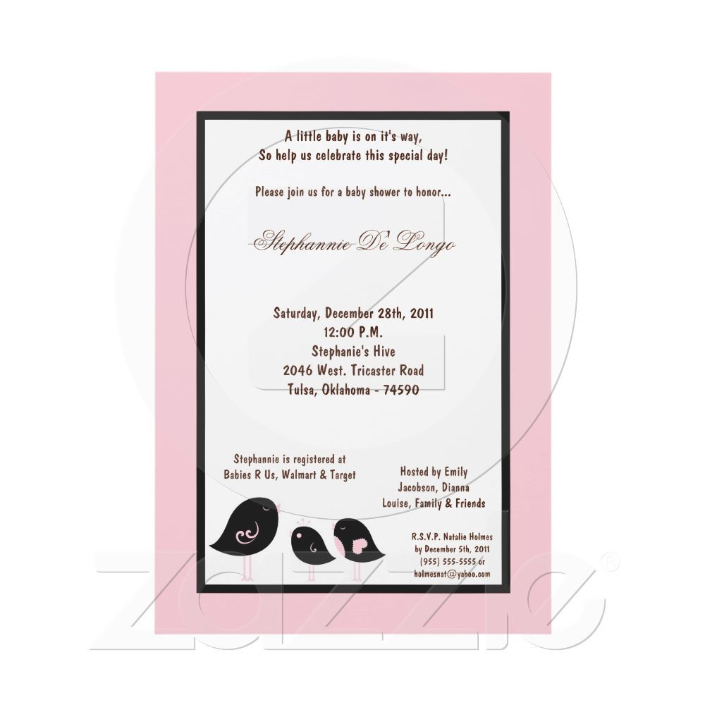 5x7 Light Pink Bird Baby Shower Card | Shower invitations