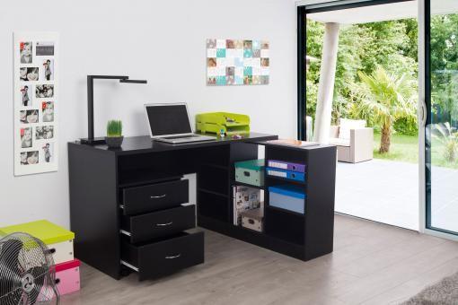 Bureau En Imitation Bois Noir Avec Retour Trend Muebles