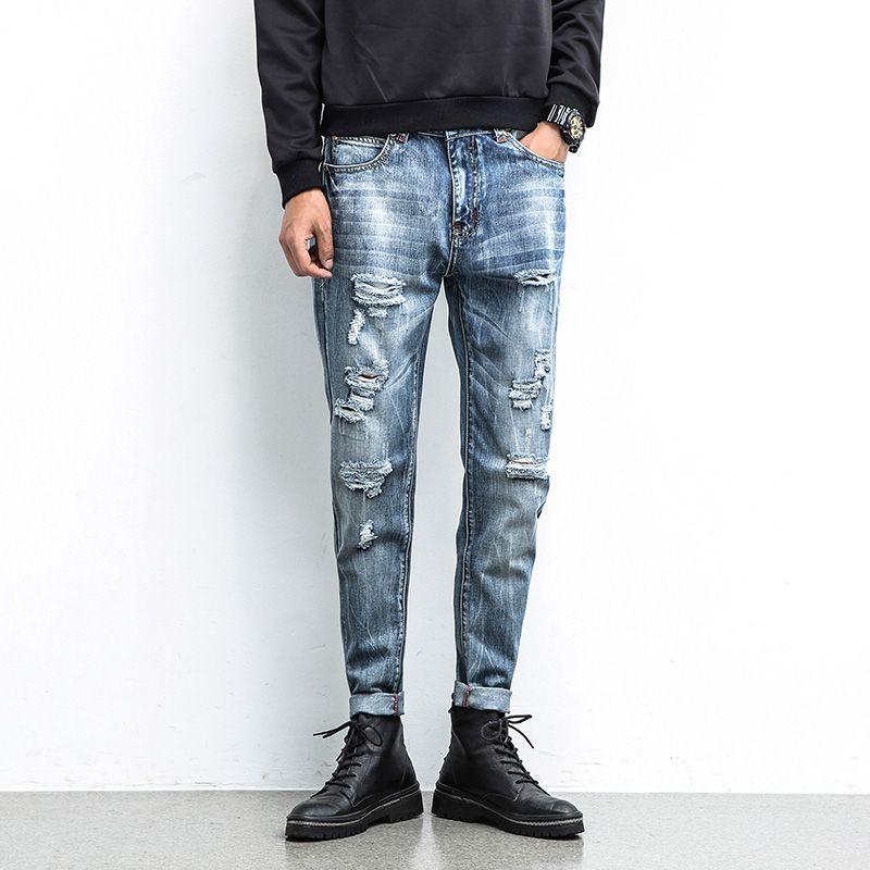 fe22f68c08d la marca de Lavado A la piedra Plisado Flaco Ripped Denim Jeans Bigote  Efecto