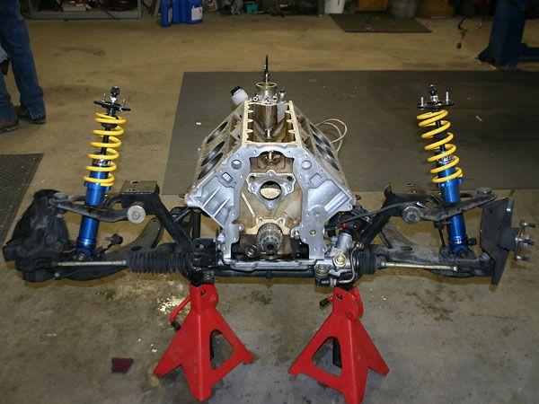 Nissan Virginia Beach >> Miata suspension, wrapped around a bare engine block. | Engineering, Mg cars, Engine block