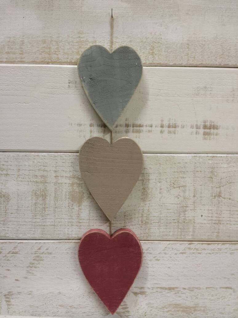 Photo of Items similar to Farrow and Ball recycled wooden large hearts wall decoration We…