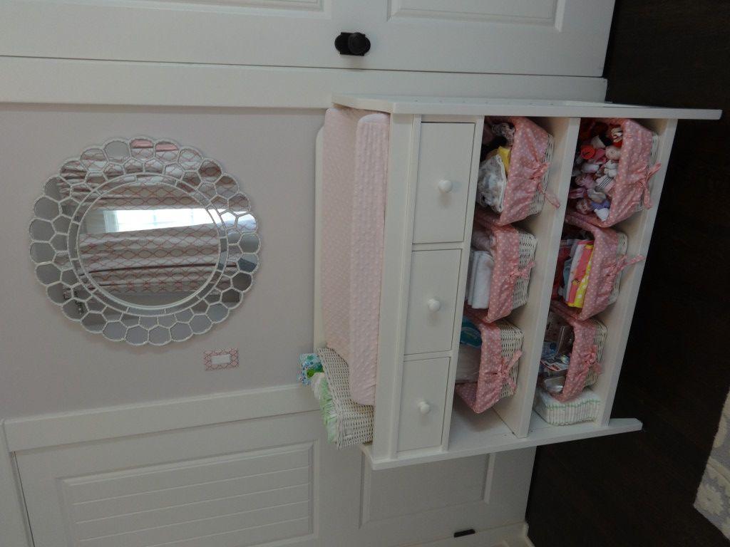 Ireland\u0027s Soft, Feminine, Pink and Gray Nursery | Nursery changing ...