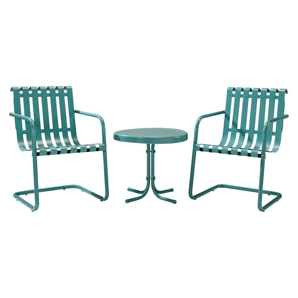 Gracie 3 Piece Metal Patio Chat Set Blue Metal Patio Furniture Outdoor Seating Set Outdoor Sofa Sets
