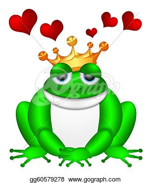 Drawing - Cute green frog with crown illustration. Clipart Drawing ...