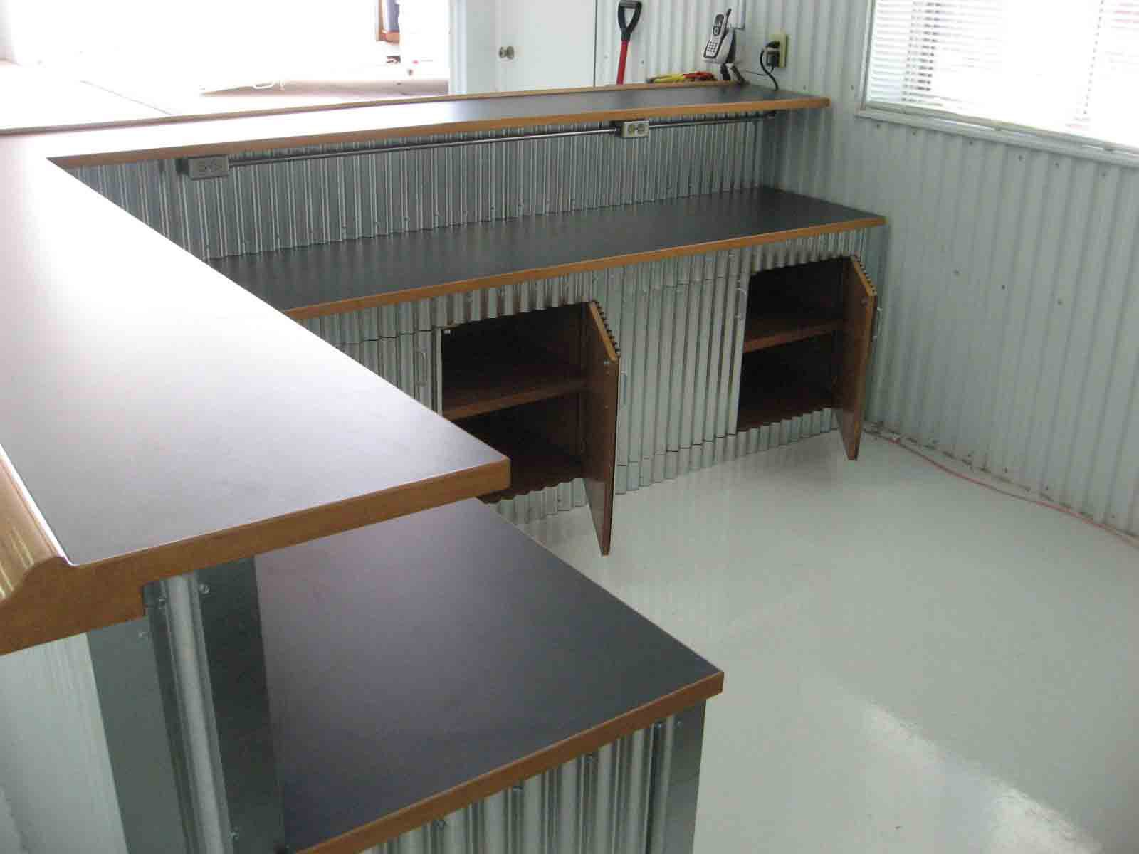 corrugated counter for the studio probably only the. Black Bedroom Furniture Sets. Home Design Ideas