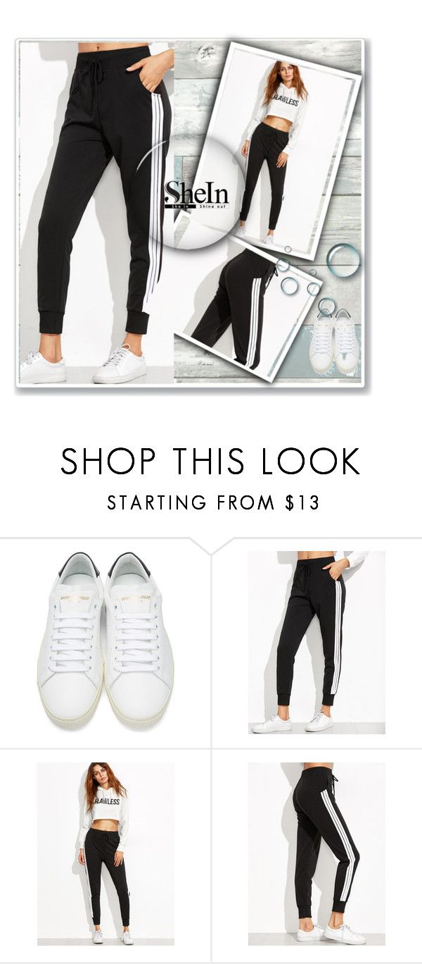 """""""Shein.com"""" by jelenasworld ❤ liked on Polyvore featuring Yves Saint Laurent and Wall Pops!"""
