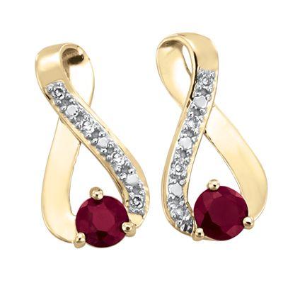 ce21874ab052 Aretes oro 14k con 3 puntos de diamante y 43 puntos de rubí Precio en  boutique   3