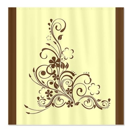 Elegant Brown Floral Shower Curtain | Brown floral, Floral shower ...