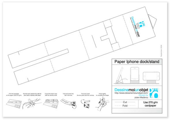 iPhone stand made out of paper )   wwwdessinemoiunobjet - logiciel pour dessiner plan de maison