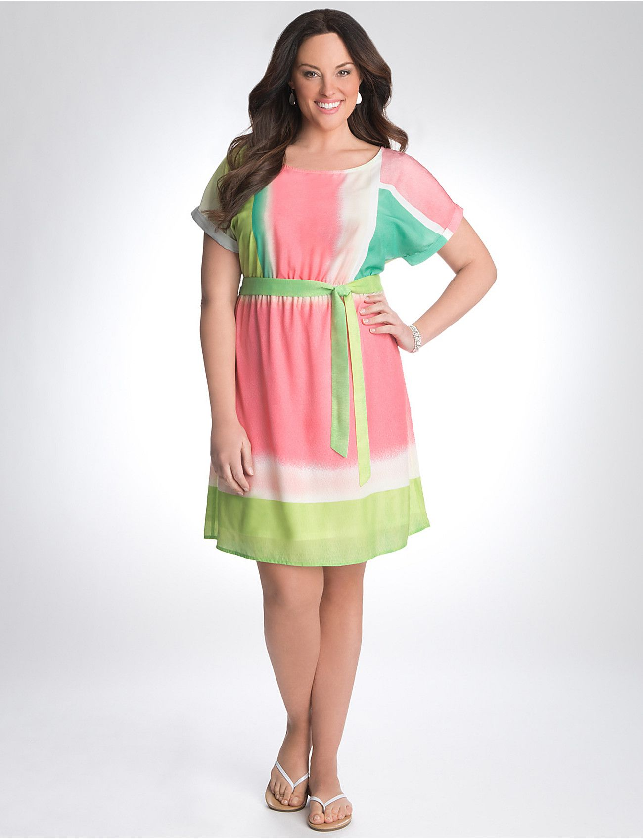 Plus Size Short Sleeve Colorblock Dress By Lane Bryant Lane Bryant