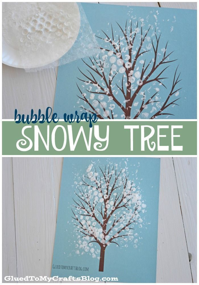 Bubble Wrap Snowy Tree Kid Craft W Free Printable Science In The