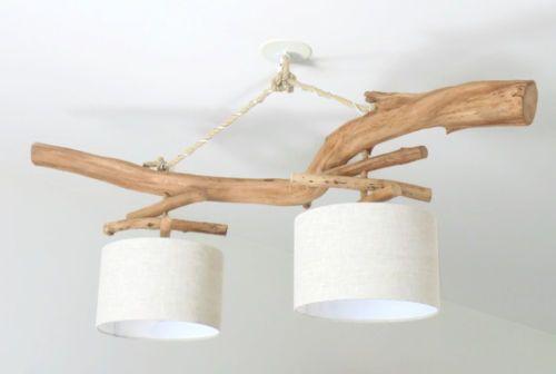 lustre bois flotte lin 28 cm double suspension led. Black Bedroom Furniture Sets. Home Design Ideas