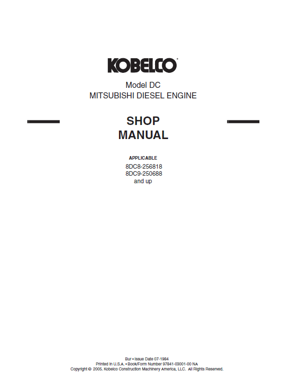 Mitsubishi 8dc8 8dc9 8dc9 T Engine Workshop Service Manual Mitsubishi Manual Workshop